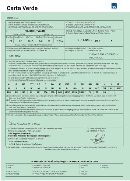 Carta verde para placas rojas S
