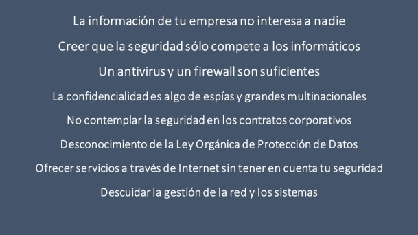 Lista de errores en ciberproteccion